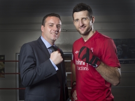 John Pye Auctions MD Adam Pye with World Champion Nottingham boxer Carl Froch, sponsored by John Pye Auctions